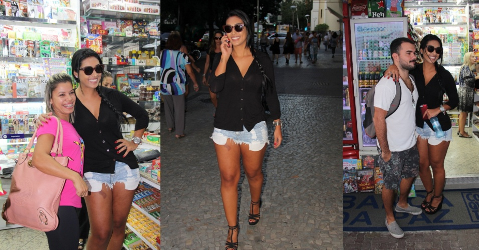15.abr.2015- Amanda, a vice-campeã do BBB 15, é assediada por fãs enquanto circula de shortinho jeans pela zona sul do Rio de Janeiro