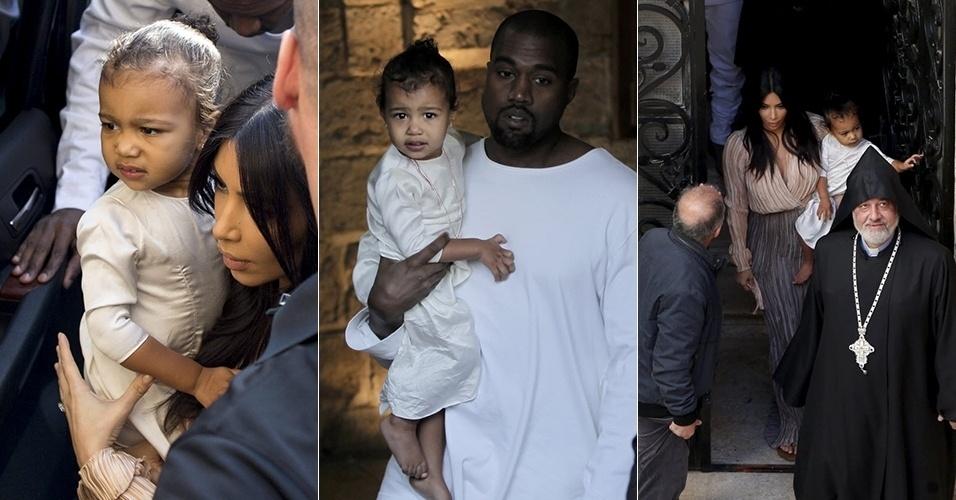 13.abr.2015 - Kim Kardashian e Kanye West batizam a filha North, de quase dois anos, em Israel