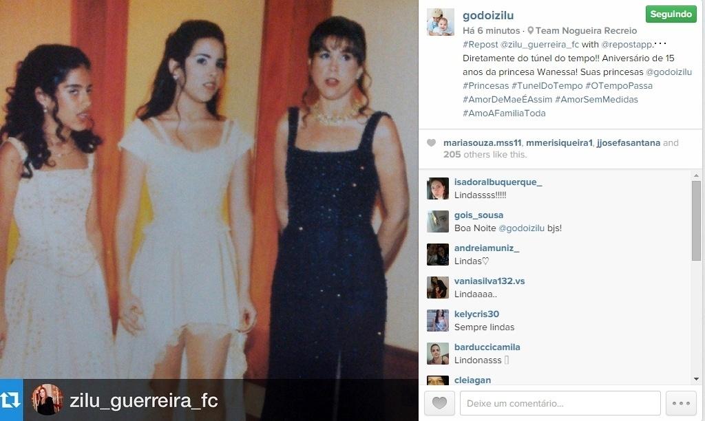 16.abr.2015 - Zilu Godoi, ex-mulher do cantor Zezé Di Camargo, compartilhou em seu Instagram uma foto publicada por seu fã-clube. Na imagem, ela e as duas filhas, Camila Camargo e Wanessa, aparecem no aniversário de 15 anos da cantora.