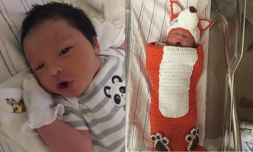 17.abr.2015 - A modelo costa-riquenha Sarah Stage, que causou polêmica na internet ao surgir com a barriga sarada em estágio avançado de gravidez, publicou fotos do filho, James Hunter nesta sexta (17)