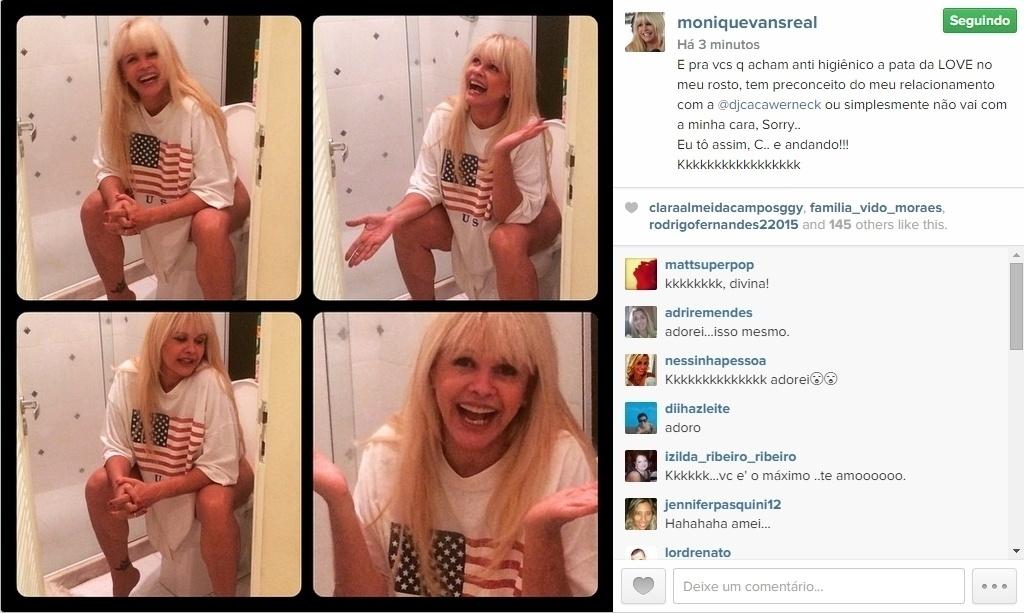 17.abr.2015 - Monique Evans se irritou com a opinião de alguns seguidores e publicou uma imagem irreverente em seu Instagram, nesta sexta-feira. Em uma montagem com quatro fotos, ela aparece sentada em um vaso sanitário, aparentemente sem calcinha. Na legenda, a ex-modelo deu seu recado: