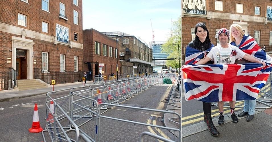 17.abr.2015 - Um forte esquema de segurança começa a ser montado em frente ao hospital onde o segundo filho de Kate Middleton e do príncipe William deve nascer.