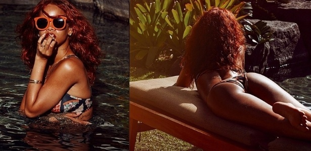 """18.abr.2015- Ousada, Rihanna publica foto pegando sol de costas durante férias no Havaí: """"Ruiva"""", escreveu ela, que está com os cabelos vermelhos"""
