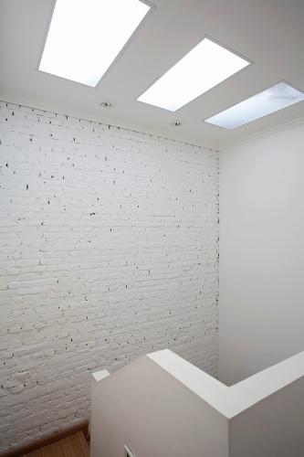 Durante a reforma desse sobrado, os arquitetos do escritório Vidal & Sant'Anna inseriram claraboias compostas por chapas de policarbonato sobre a área da escada