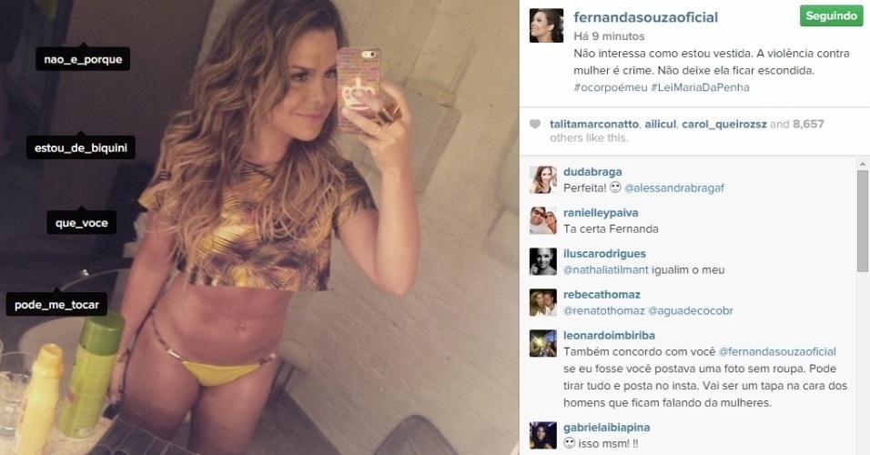 A atriz Fernanda Souza publica foto de biquíni para chamar a atenção sobre a violência contra as mulheres