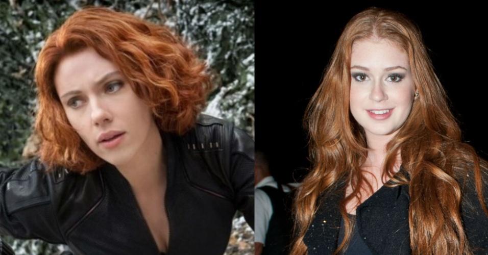 As belezas de Scarlett Johansson e Marina Ruy Barbosa sãos indiscutíveis. Embora a primeira não seja ruiva natural, sua personagem, a Viúva Negra, é. A escolha por Marina para substituí-la, portanto, foi natural