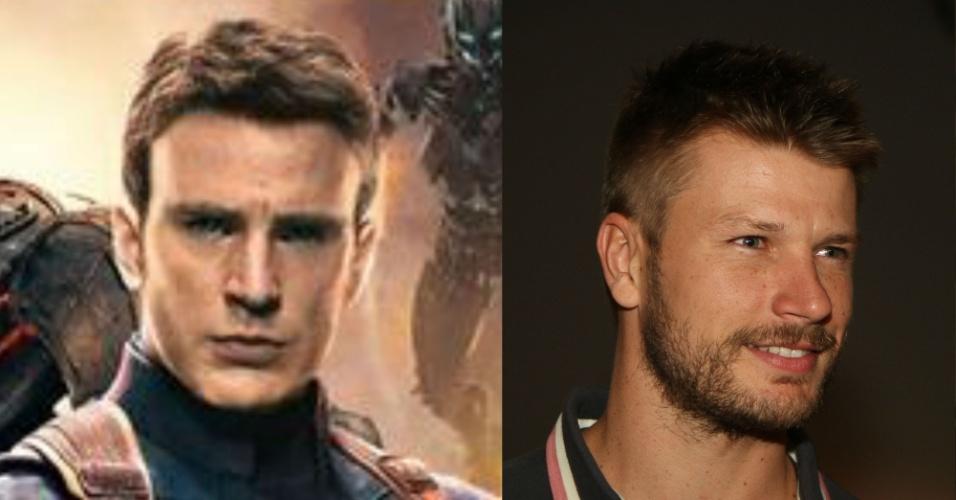 Chris Evans interpreta no cinema o bom moço Capitão América. Na vida real, Rodrigo Hilbert cumpre esse papel. Já dá até para imaginar Rodrigo no uniforme do herói