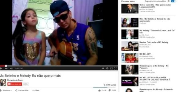 Vídeos de MC Melody, de oito anos, no YouTube tem milhões de visualizações - Reprodução/Youtube
