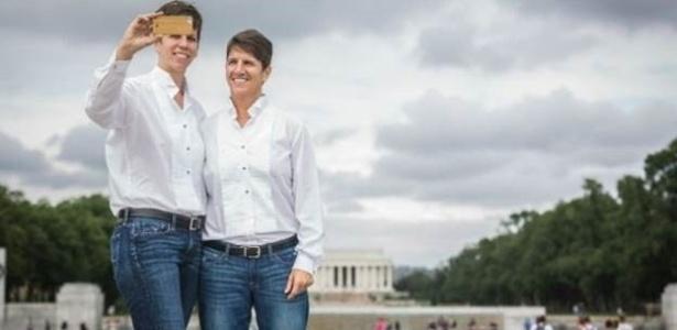 Jana Beckwith e Chris Doerger foram à Washington para formalizar sua união no ano passado - BBC