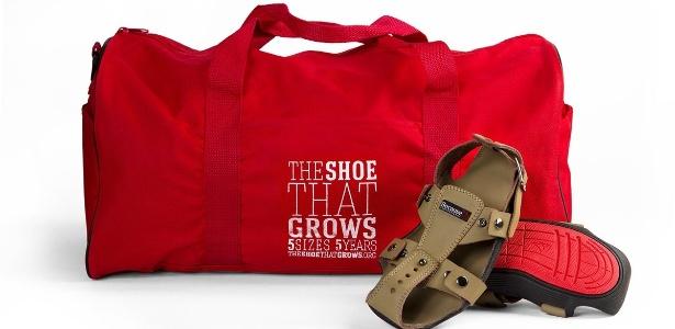 Calçado que pode ser ajustado à medida que a criança cresce, criado por ONG - Divulgação