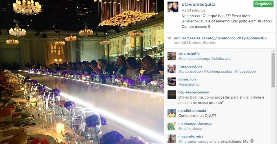 30.abr.2015 - O apresentador Otávio Mesquita postou uma foto do jantar em celebração ao casamento do empresário Roberto Justus com a modelo Ana Paula Siebert, que aconteceu na noite desta quinta-feira