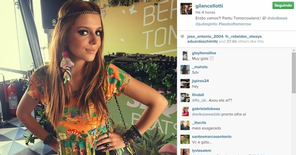 01.mai.2015 - Pouco antes de ir para o festival de música eletrônica, Giovanna Lancellotti postou uma foto do look do dia em seu Instagram.