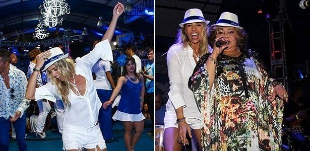 2.mai.2015 - Ex-rainha de bateria da Portela, a apresentadora Adriane Galisteu retorna à quadra da agremiação neste sábado. Animada, a loira caiu no samba e subiu ao palco com a cantora Alcione