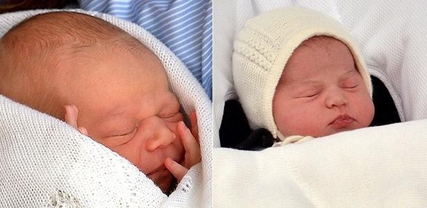 À esquerda, o bebê George ao ser apresentado ao mundo em julho de 2013. No dia 2 de maio de 2015, Kate Middleton dá à luz sua primeira filha (à direita)
