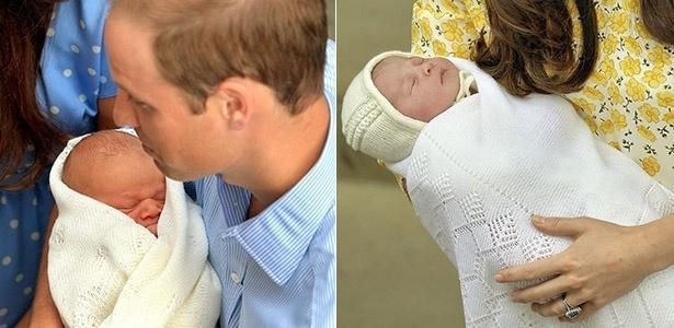 Príncipe William segura o filho, príncipe George, no colo logo após o seu nascimento, em julho de 2013. À direita, Kate Middleton apresenta a filha recém-nascida, em frente ao hospital  St. Mary, em Londres