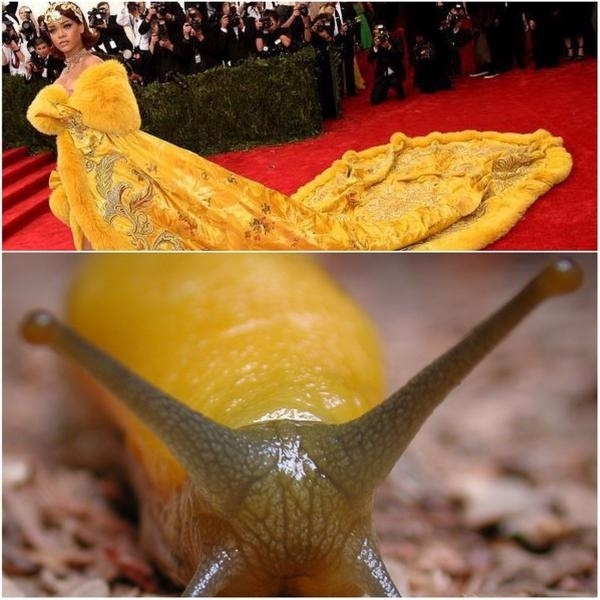04.mai.2015 - Roupa usada por Rihanna no MET 2015 ganha brincadeira no Twitter ao ser comparada com uma lesma amarela