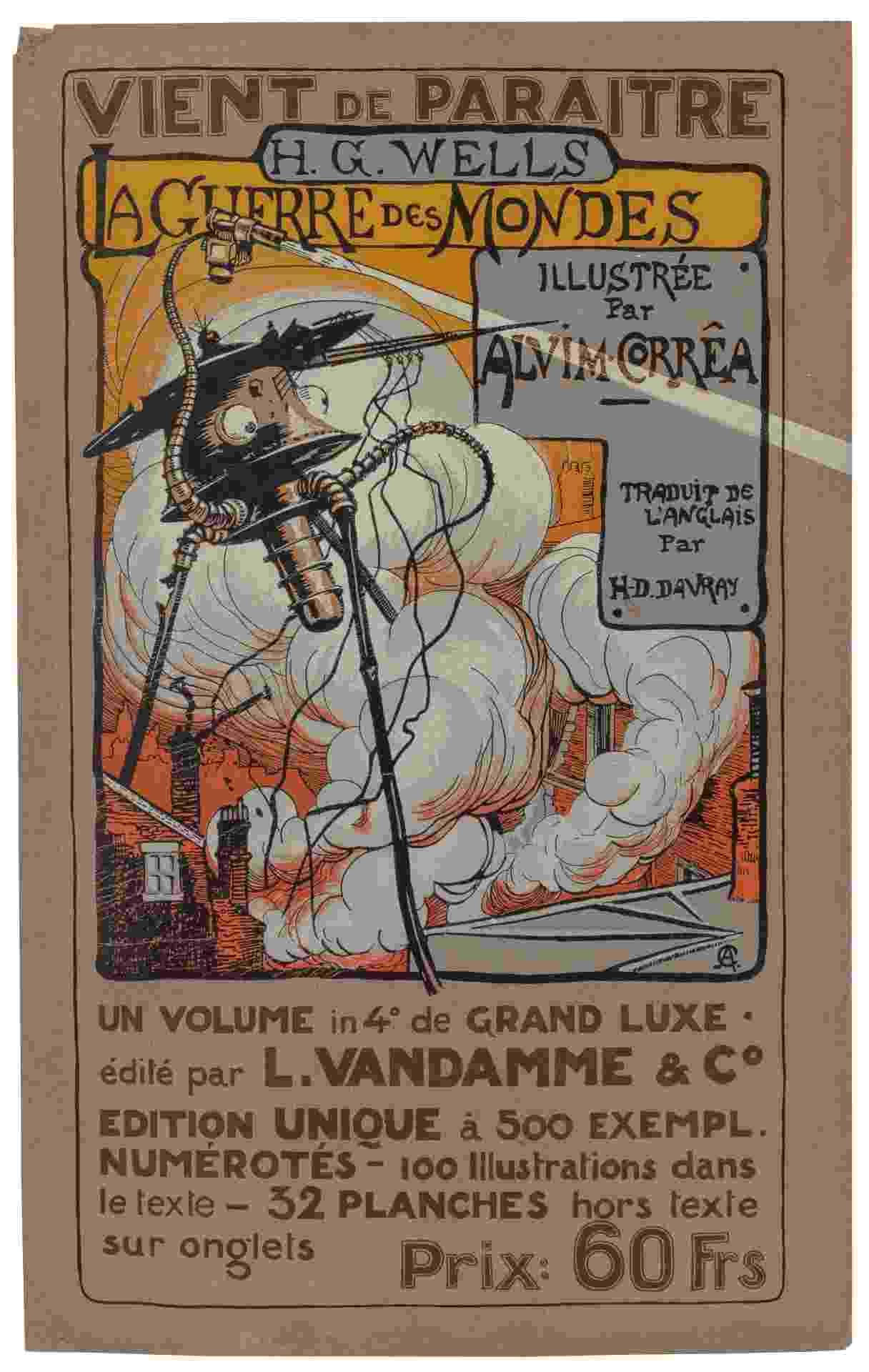 """Pôster promocional da edição belga do livro """"A Guerra dos Mundos"""", ilustrada pelo brasileiro Henrique Alvim Corrêa no início do século 20 - Reprodução"""