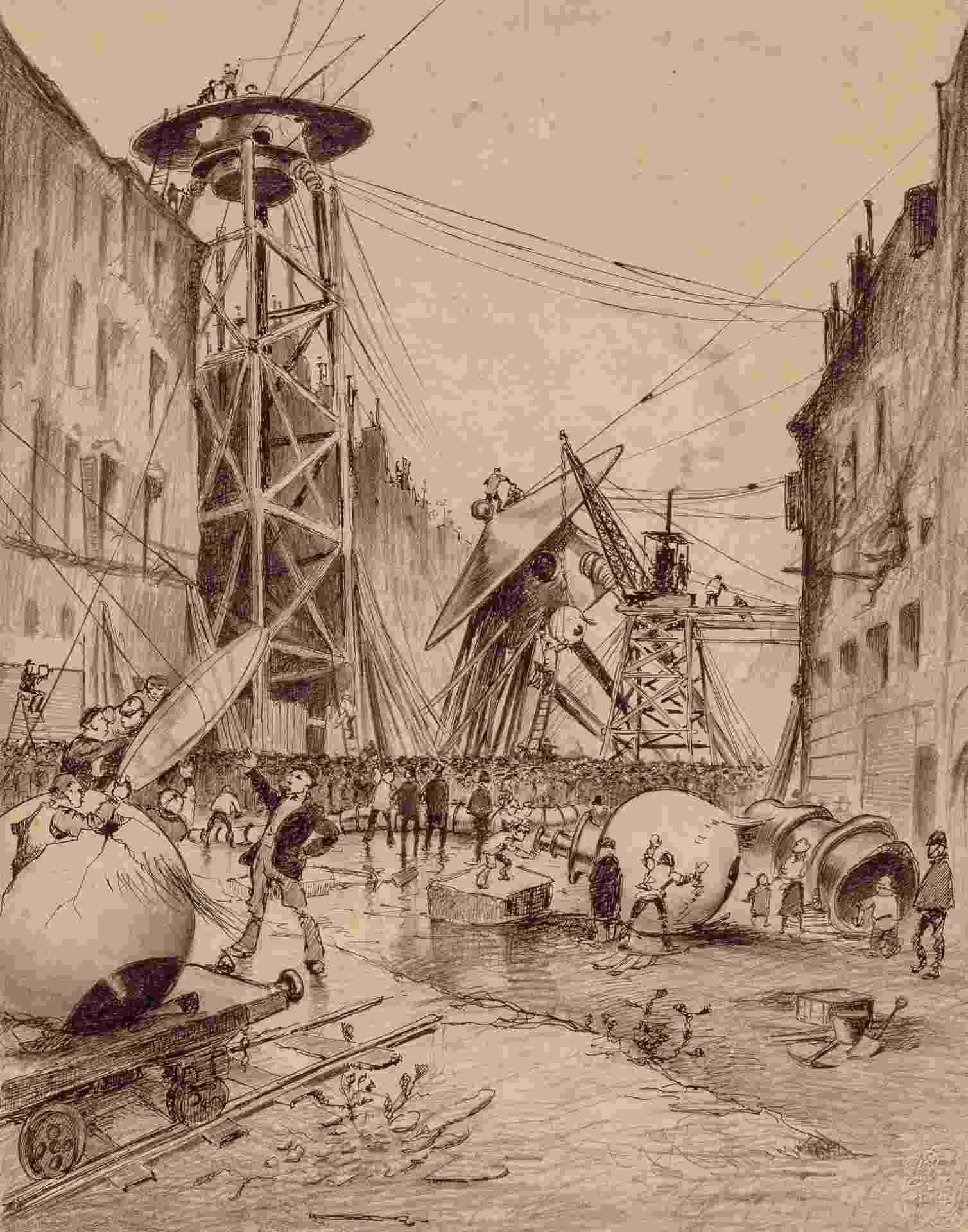 """Ilustração feita pelo artista brasileiro Henrique Alvim Corrêa no início do século 20 para a edição belga do livro """"A Guerra dos Mundos"""" - Reprodução"""