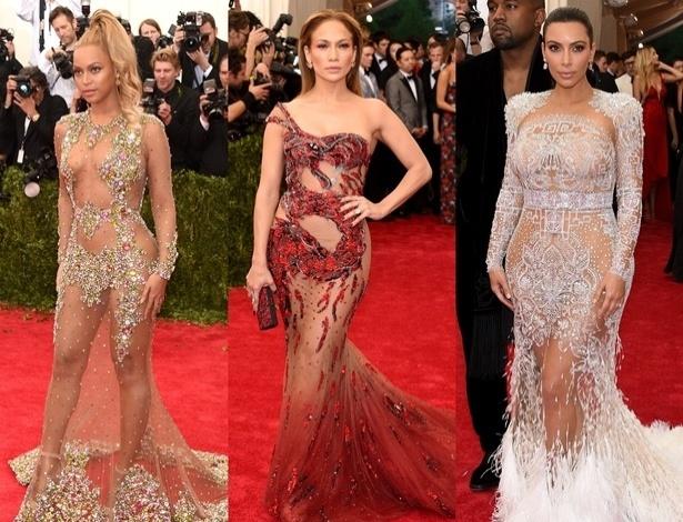 Beyoncé, Jennifer Lopez e Kim Kardashian com seus looks transparentes no MET 2015 - Getty Images