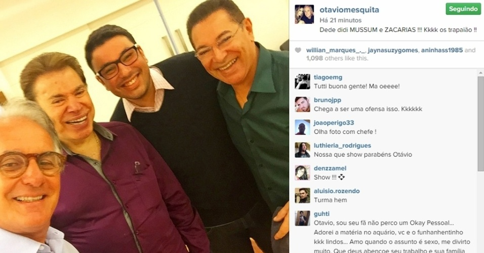 06.mai.2015 - Otávio Mesquita encontrou o apresentador Silvio Santos e fez questão de registrar o encontro. Na foto postada em seu Instagram nesta quarta-feira, ele aparece ao lado do dono do SBT, de Jassa, o cabeleireiro preferido do