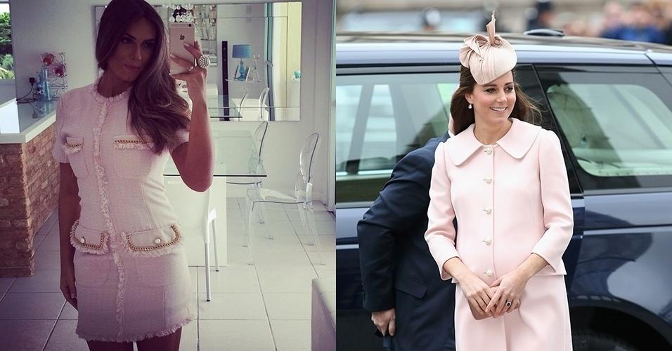 6.mai.2015 Nicole Bahls faz selfie com vestido rosa e diz que se inspirou em Kate Middleton, a mulher do príncipe William.