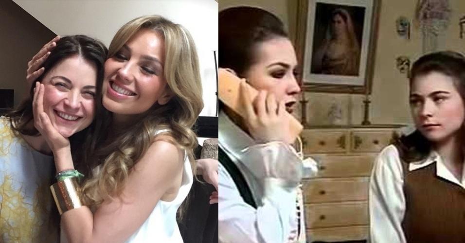 """11.mai.2015 - Mãe da adolescente Tita em """"Maria do Bairro"""", novela da Televisa em que era a estrela, Thalia celebrou o reencontro com a sua """"filha de la Vega"""" -- em referência a família das personagens -- na noite desta segunda-feira. A cantora publicou em seu Instagram uma foto em que aparece abraçada com a atriz da mexicana Ludwika Paleta, que fazia uma das filhas de sua personagem na trama. """"Mas que feliz está Do Bairro agora"""", escreveu na legenda"""