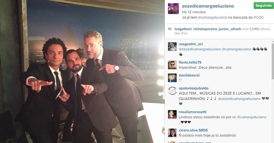 11.mai.2015 - O cantor Luciano Camargo, que faz dupla com Zezé, participa da bancada do programa