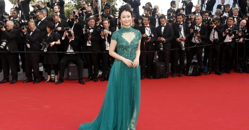 13.mai.2015 - A atriz chinesa Zhao Tao posa para fotos na sua chegada ao Festival de Cannes 2015