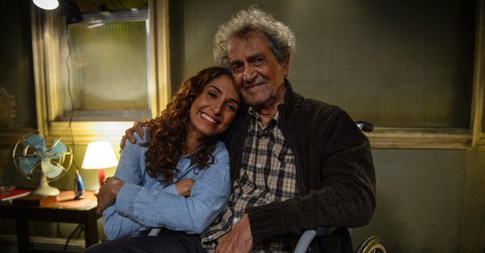 Camila Pitanga e Nelson Xavier nos bastidores de Babilônia