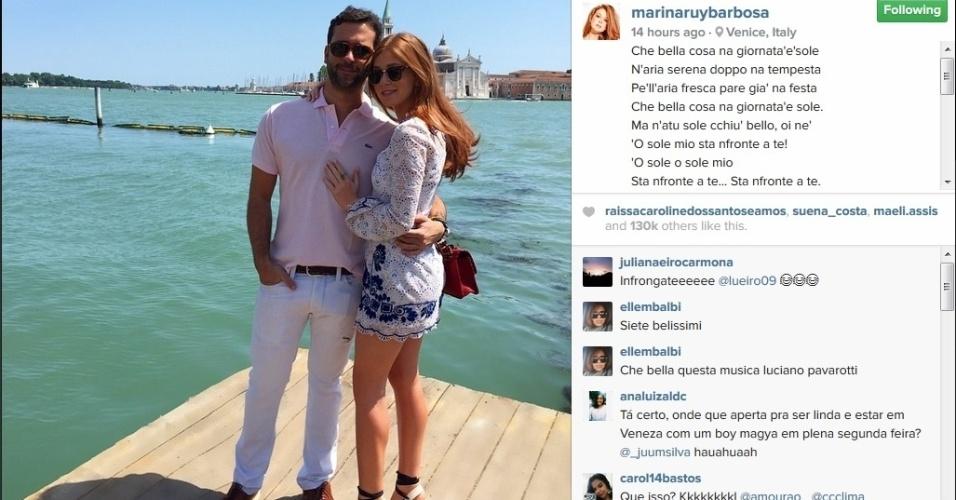 17.mai.2015 - Marina Ruy Barbosa está curtindo uma viagem romântica ao lado de seu namorado Caio Nabuco. Na noite deste domingo (17), a atriz usou seu Instagram para postar uma foto na qual os dois aparecem abraçados à beira do Grande Canal, em Veneza