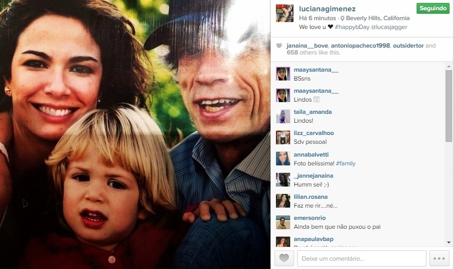 18.mai.2015 - No dia em que Lucas completa 16 anos, Luciana Gimenez fez uma homenagem ao filho publicando uma foto antiga dos dois ao lado do pai do menino, o roqueiro Mick Jagger.