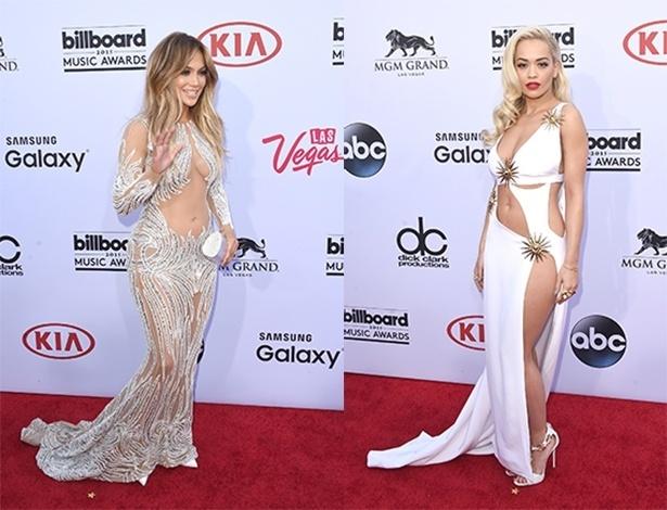 Jennifer Lopez e Rita Ora em looks reveladores durante o 2015 Billboard Music Awards  - Getty Images