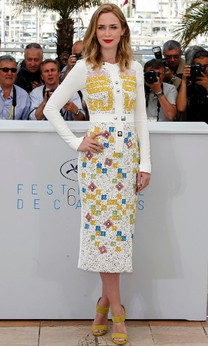 19.mai.2015 - A atriz britânica Emily Blunt, 32 anos, durante sessão de fotos para divulgar o filme