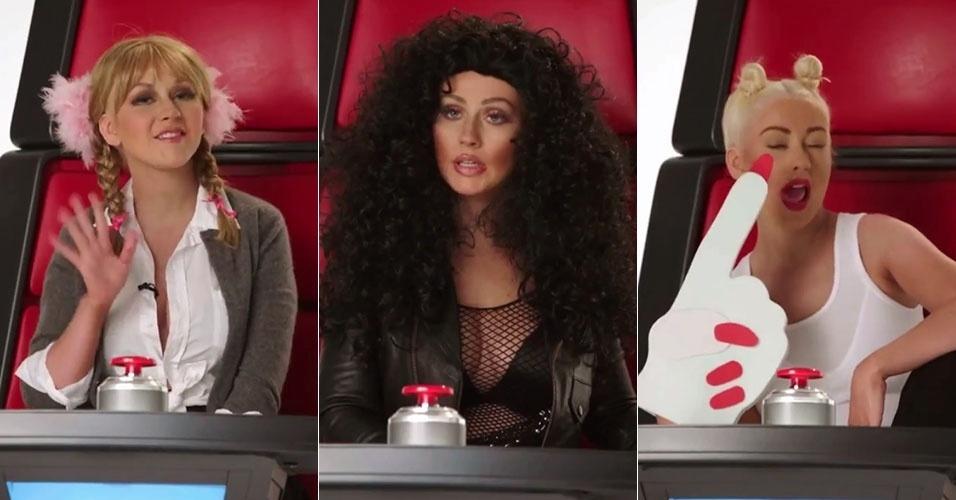 19.mai.2015 - Christina Aguilera faz imitações de Britney Spears, Cher e Miley Cyrus em vídeo promocional da oitava temporada do