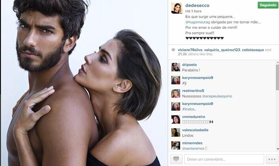 19.mai.2015 - Deborah Secco publicou uma foto romântica ao lado do namorado Hugo Moura, que é o pai de sua filha, e foi só elogios ao surfista: