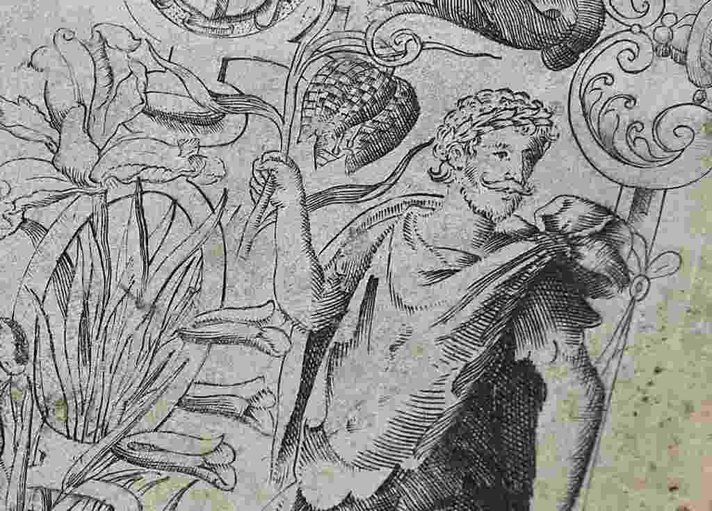 """19.mai.2015 - Imagem da primeira edição de """"The Herball"""", livro do século 16, mostra o que seria o primeiro retrato autêntico de Shakespeare - Toby Melville/Reuters"""