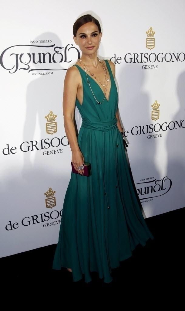 19.mai.2015 - A atriz israelense e norte-americana Natalie Portman na festa De Grisogono, no Festival de Cannes. A estrela venceu o Oscar de melhor atriz por