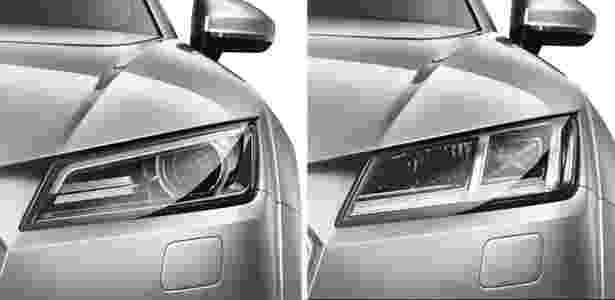 Audi TT com faróis de gás xenônio (à esquerda) e com full-LED (à direita) - Arte UOL Carros - Arte UOL Carros