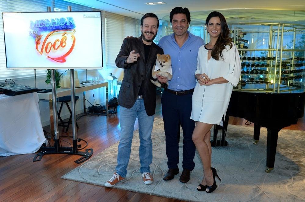 Celso Zucatelli, o cão Paçoca, Edu Guedes e Mariana Leão lançam o
