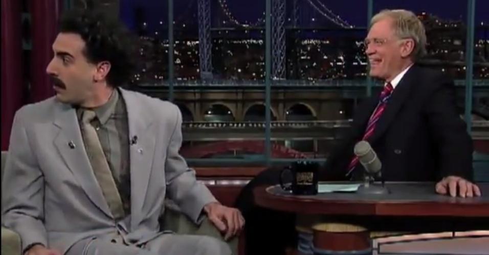 Em outubro de 2006, David Leterrman entrevistou o ator e comediante britânico Sacha Baron Cohen, que foi ao programa caracterizado como seu famoso personagem Borat