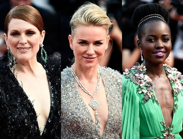 """Logo no primeiro dia do evento, as atrizes Julianne Moore, Naomi Watts e Lupita Nyong""""o apareceram com vestidos superdecotados - Getty Images"""