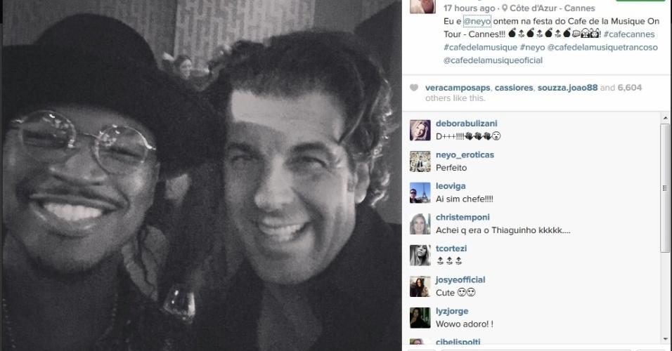 20.mai.2015 - Na noite desta quarta-feira (20), Alvaro Garnero publicou uma foto em seu Instagram em que aparece ao lado  do cantor Ne-Yo. O apresentador da Record está em Cannes para prestigiar o festival de cinema da cidade, que acaba no próximo domingo (24)