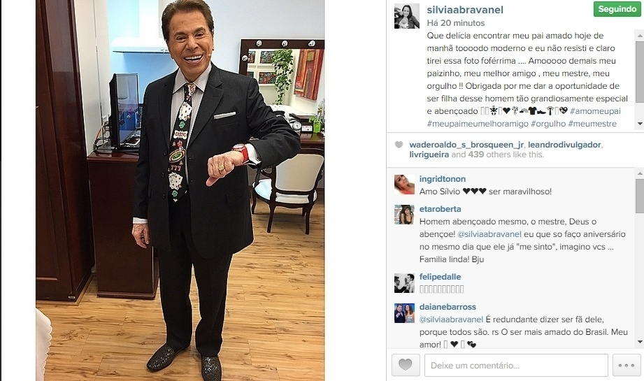 21.mai.2015 - Silvia Abravanel publicou uma foto do pai, o apresentador Silvio Santos, na noite desta quinta-feira em seu Instagram. Na legenda, ela explicou que estava feliz em encontrar o pai mais cedo