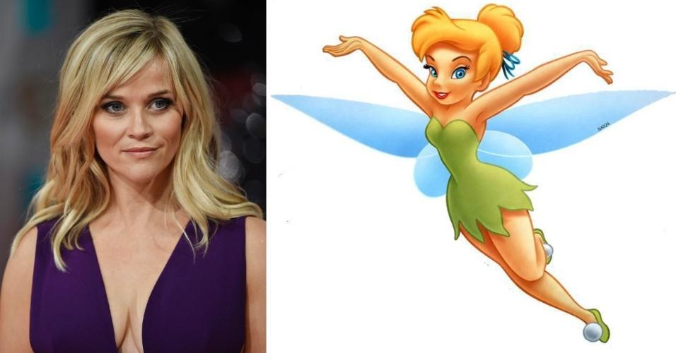 Montagem mostra Reese Whiterspoon e a fada Tinkerbell; atriz deve viver a personagem no cinema