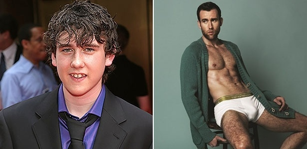 """O ator Matthew Lewis, o Neville de """"Harry Potter"""", em 2004, no tapete vermelho de """"Harry Potter e o Prisioneiro de Azkaban"""" e em foto de cueca para a revista """"Atitude"""", voltada ao público gay"""