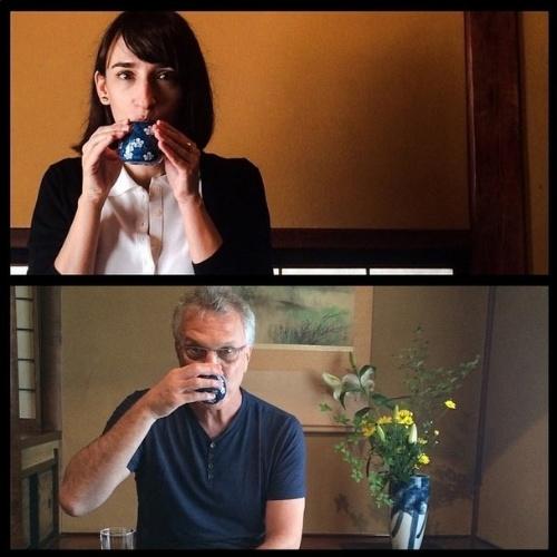 """2014 - Pedro Bial mostrou em seu Instagram imagens que mostravam o casal tomando chã. """"Chazim"""", disse o apresentador na legenda"""