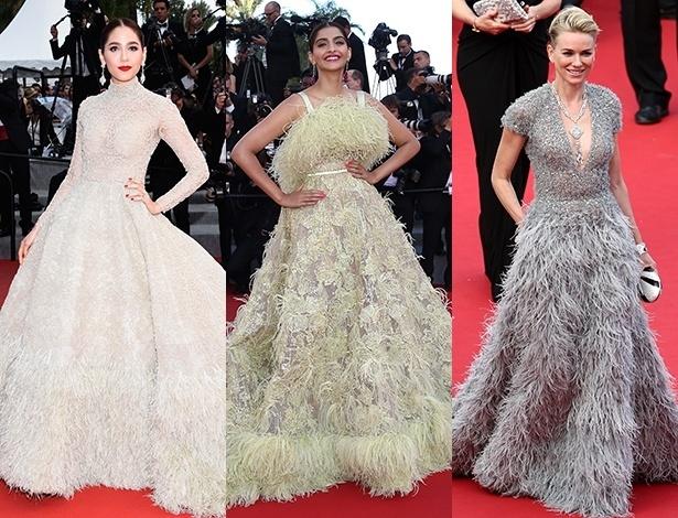 As plumas foram as protagonistas dos visuais das atrizes Araya Hargate, Sonam Kapoor e Naomi Watts na Riveira Francesa - Getty Images