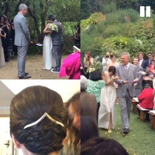 23.mai.2015 - A tradicional chuva de arroz saudou os recém-casados Maria Prata e Pedro Bial ao fim da cerimônia na tarde deste sábado (23), em Petrópolis, região serrana do Rio de Janeiro