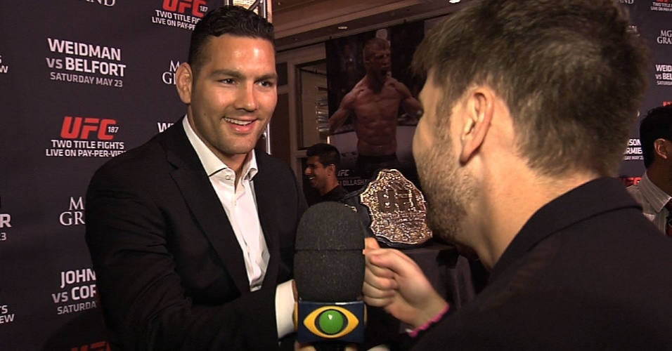 Daniel Zukerman, do ?Pânico?, entrevistou Chris Weidman, em Las Vegas, por conta da luta deste sábado contra Vitor Belfort