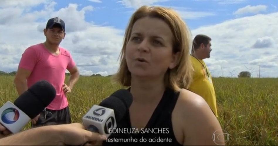 """24.mai.2015 - Edineuza Sanches, testemunha do acidente com a família Huck, disse que Osmar Frattini """"foi um grande piloto"""""""